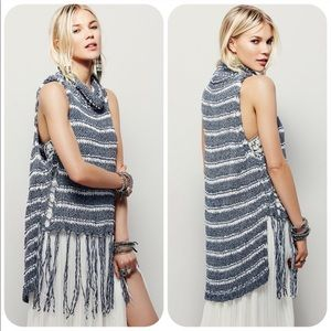 Free People Folksong Fringe Knit Cowl Neck Sweater